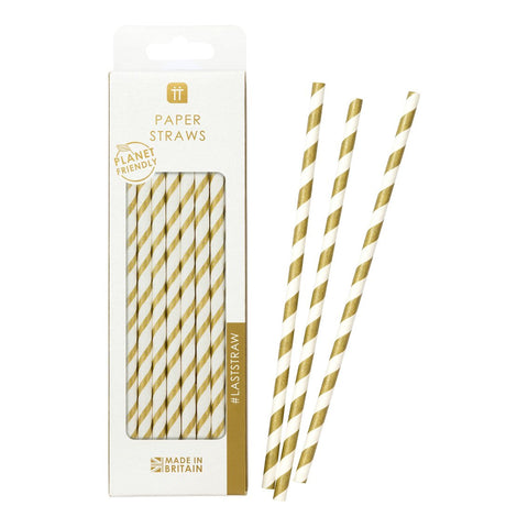 Metallic Gold Striped Straws
