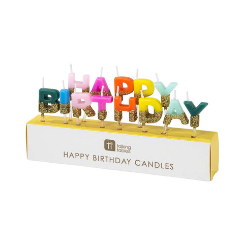 Multi-colour & Gold Glitter Happy Birthday Candles