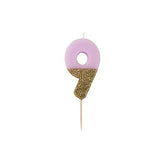 Lilac Glitter Dipped Candle - Number 9