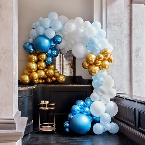 Luxe Blue And Gold Balloon Arch Kit