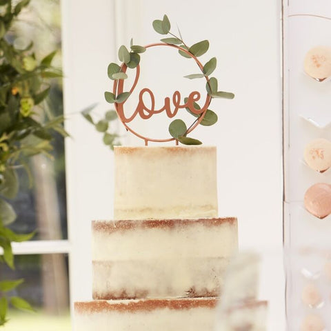 Rose Gold Love Script Cake Topper
