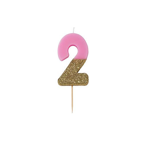 Pink Glitter Dipped Candle - Number 2
