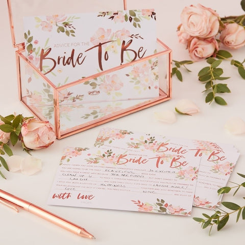 Floral Hen Bride To Be Advice Cards