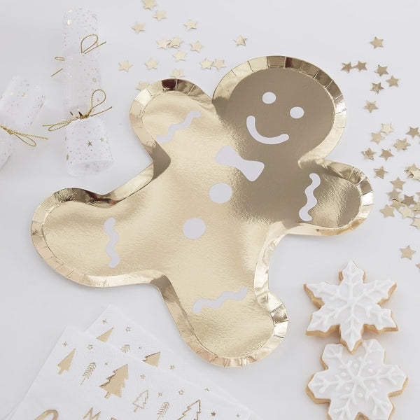 Gold Foiled Gingerbread Shaped Paper Plates