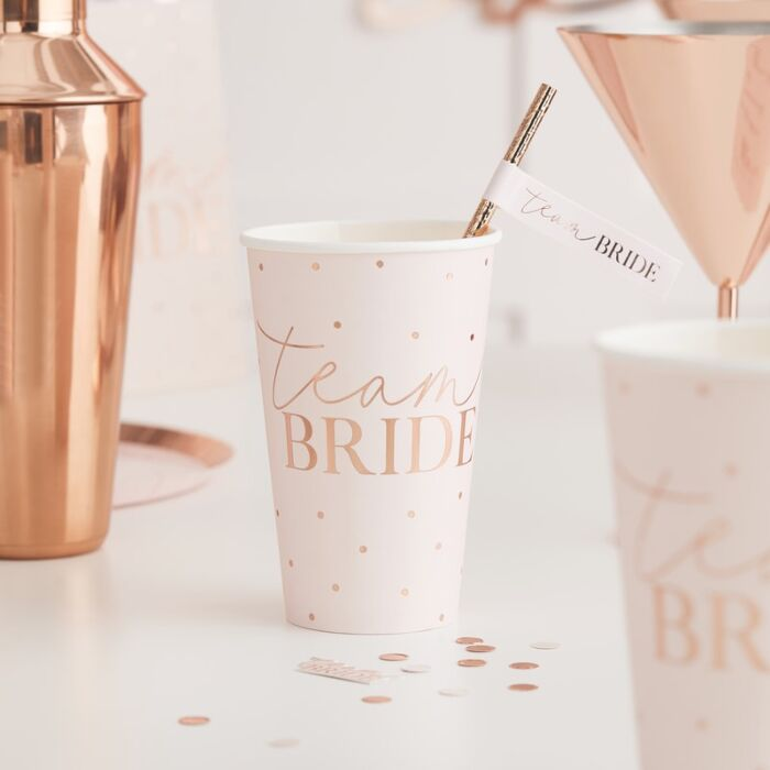 Blush Pink And Rose Gold Team Bride Large Paper Cups