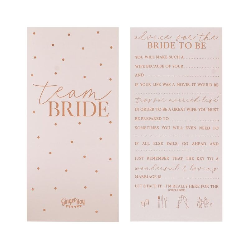 Rose Gold Foiled Hen Party Advice Cards