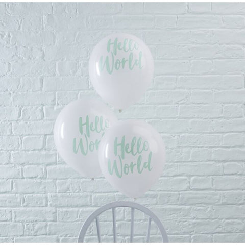 Baby Shower - Mint Hello World Balloons