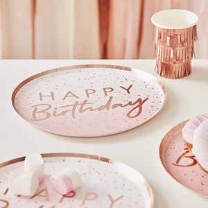 Rose Gold Ombre Happy Birthday Paper Plates
