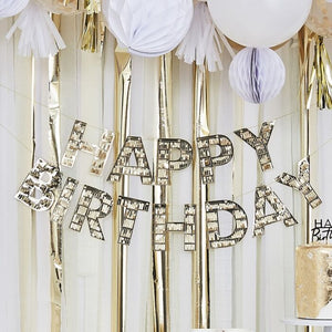Gold Fringe Happy Birthday Banner