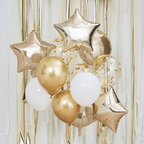 Gold And White Balloon Bundle