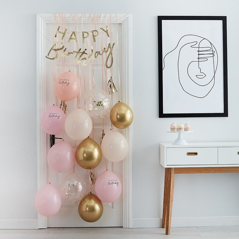 Pink And Gold Happy Birthday Balloon Door Kit