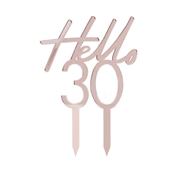Rose Gold Acrylic Hello 30 Cake Topper