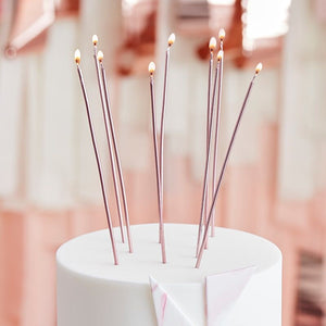 Rose Gold Tall Skinny Cake Candles