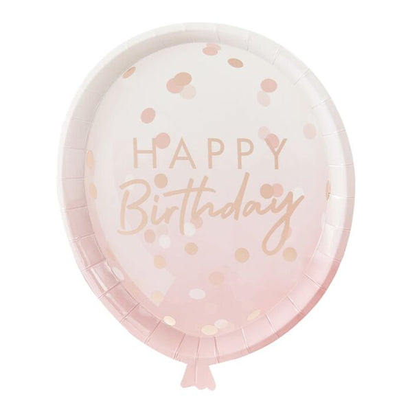 Rose Gold Balloon Shaped Paper Plates