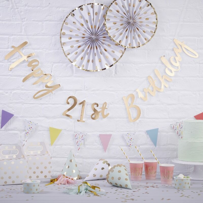 Gold Happy 21st Birthday Bunting