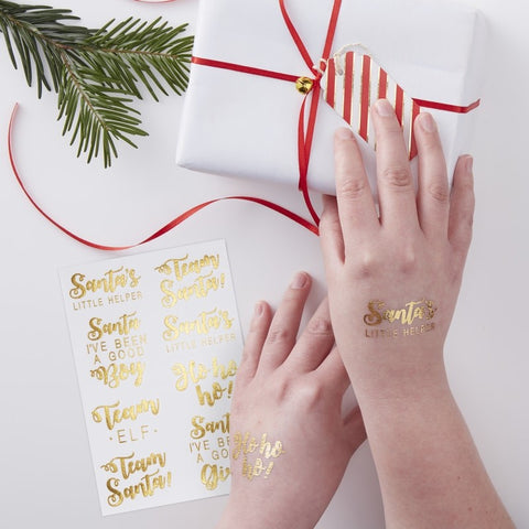 Festive Gold Foiled Temporary Tattoos