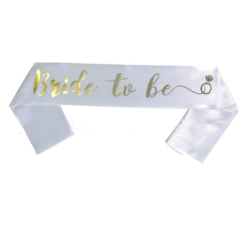 Satin Bride To Be Sash - White and Gold