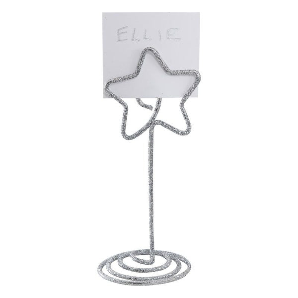 Silver Glitter Star Metal Shaped Place Card Holders