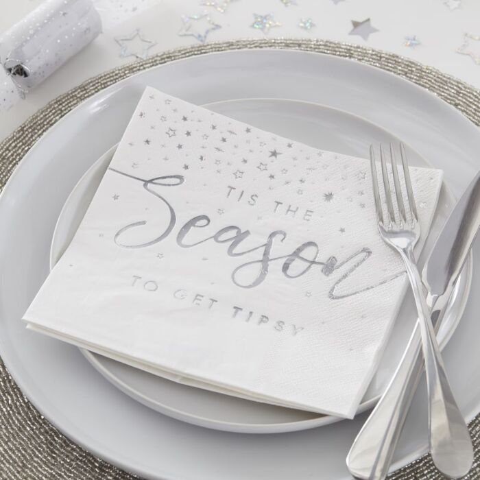 Silver Foiled Tis The Season To Get Tipsy Paper Napkins