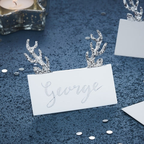 Silver Glitter Antler Place Cards