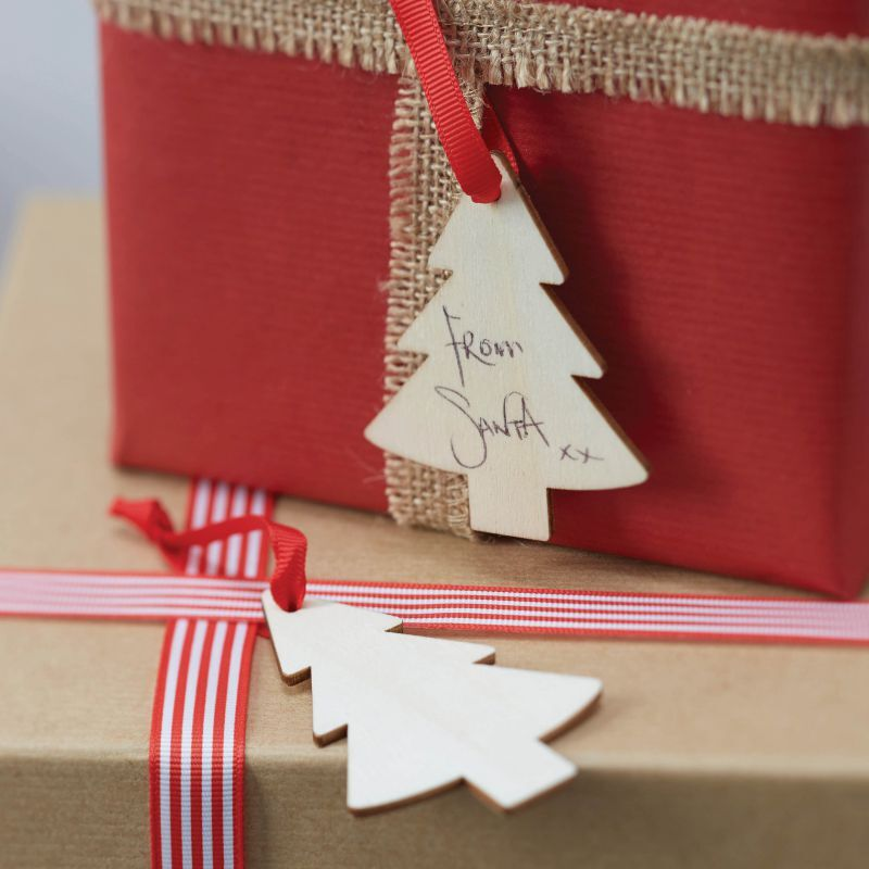 Wooden Christmas Tree Gift Tags