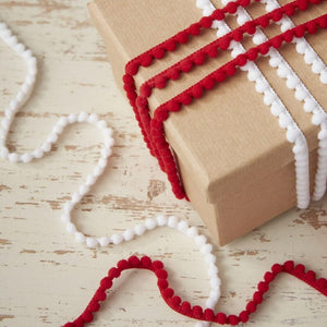 Festive Red And White Pom Pom Ribbons