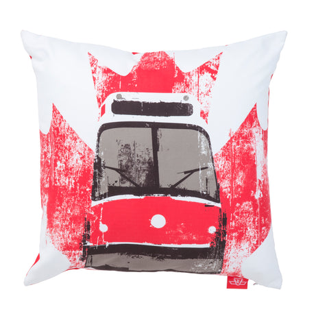 TTC Streetcar Pillow, White