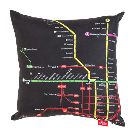 Subway and Streetcar Map Pillow