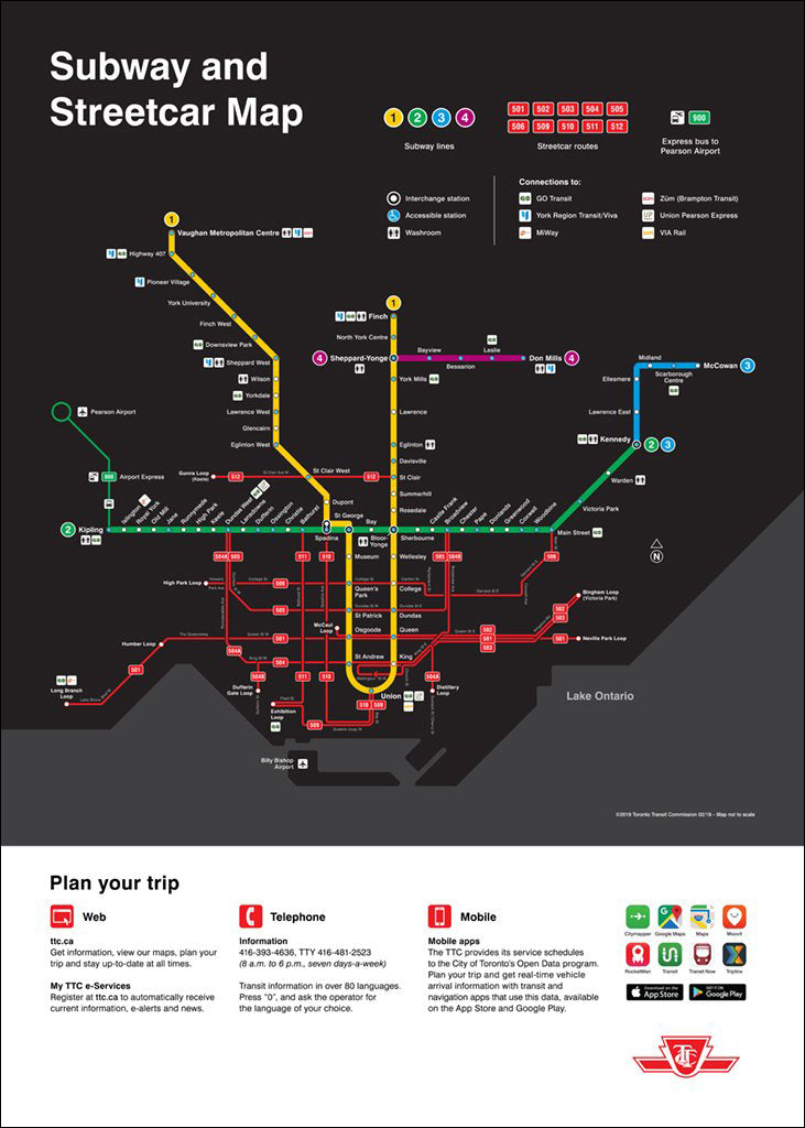 Toronto Subway Map Print.Subway And Streetcar Map Poster