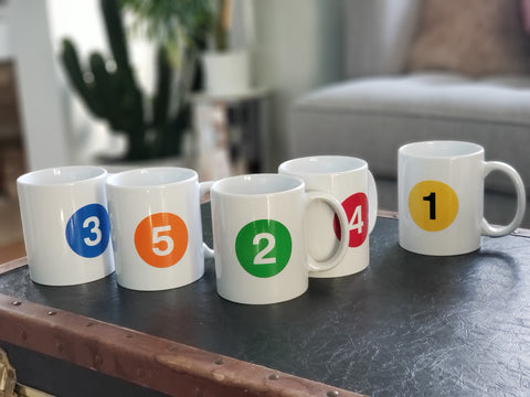 Subway Line Ceramic Mug - Set