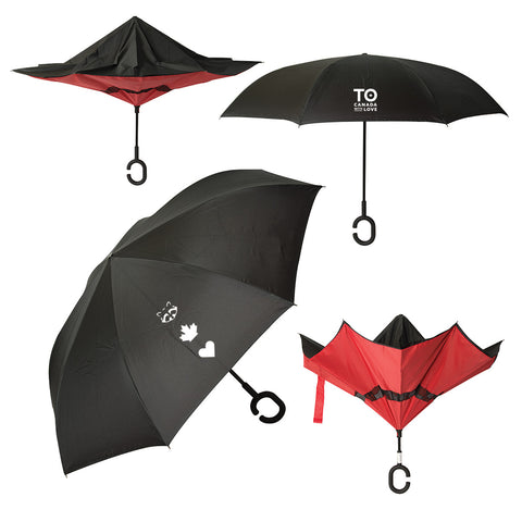 TO Canada With Love ICONS Reversible Umbrella, Black & Red