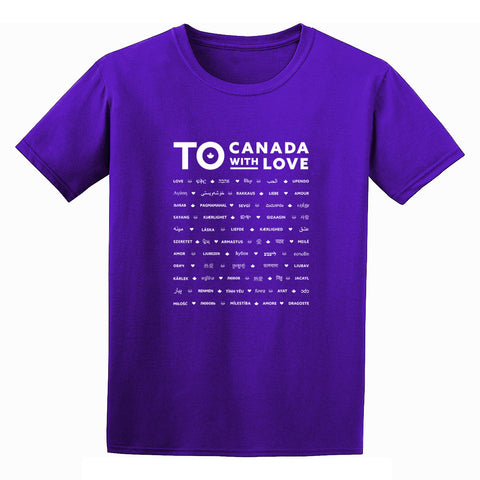 Love in Translation T-Shirt, Purple - Youth
