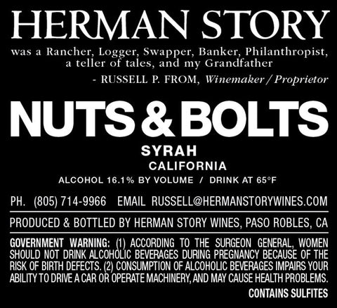 2015 HERMAN STORY NUTS & BOLTS SYRAH 750ML