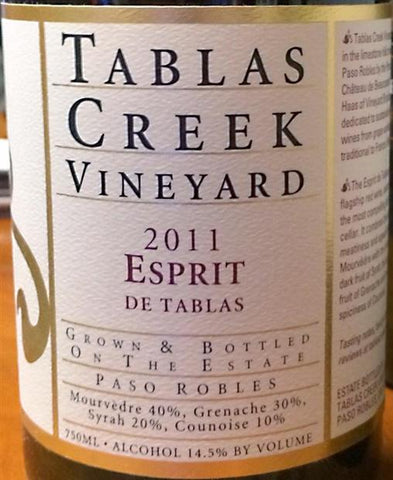 2011 TABLAS CREEK VINEYARD ESPRIT DE BEAUCASTEL ROUGE (NY) 750ML