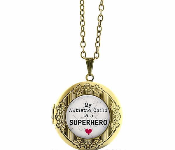 'My Autistic Child is a Superhero' Locket - Autism Awareness Merchandise