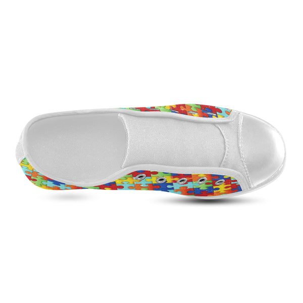 Autism Puzzle Piece Kids Shoe- White Low Top - Autism Awareness Merchandise