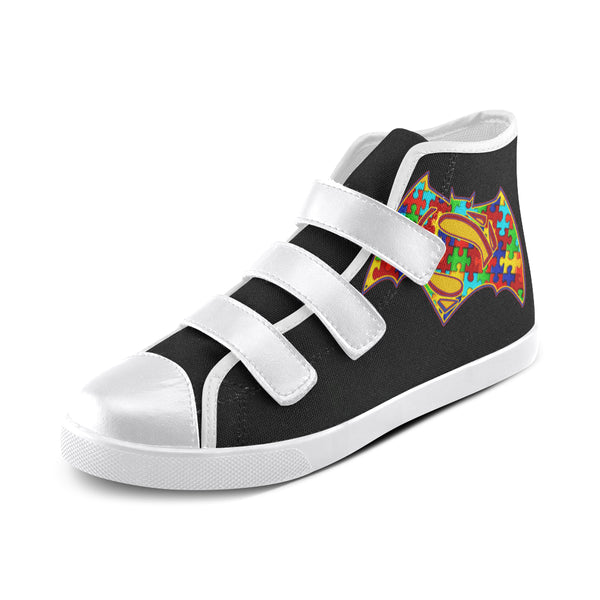 Superman Batman- Kids Shoes- White & Black Velcro - Autism Awareness Merchandise