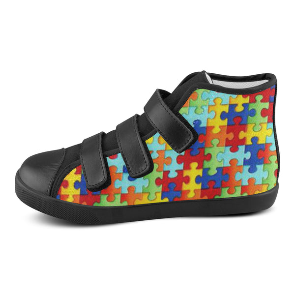 Puzzle Piece Kids Velcro High Tops - Autism Awareness Merchandise