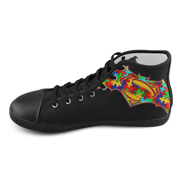 Superman Batman Kids Shoes- Black High Top - Autism Awareness Merchandise