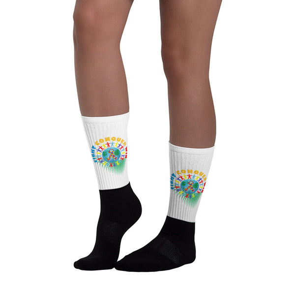 Fight Conquer Win Socks - Autism Awareness Merchandise