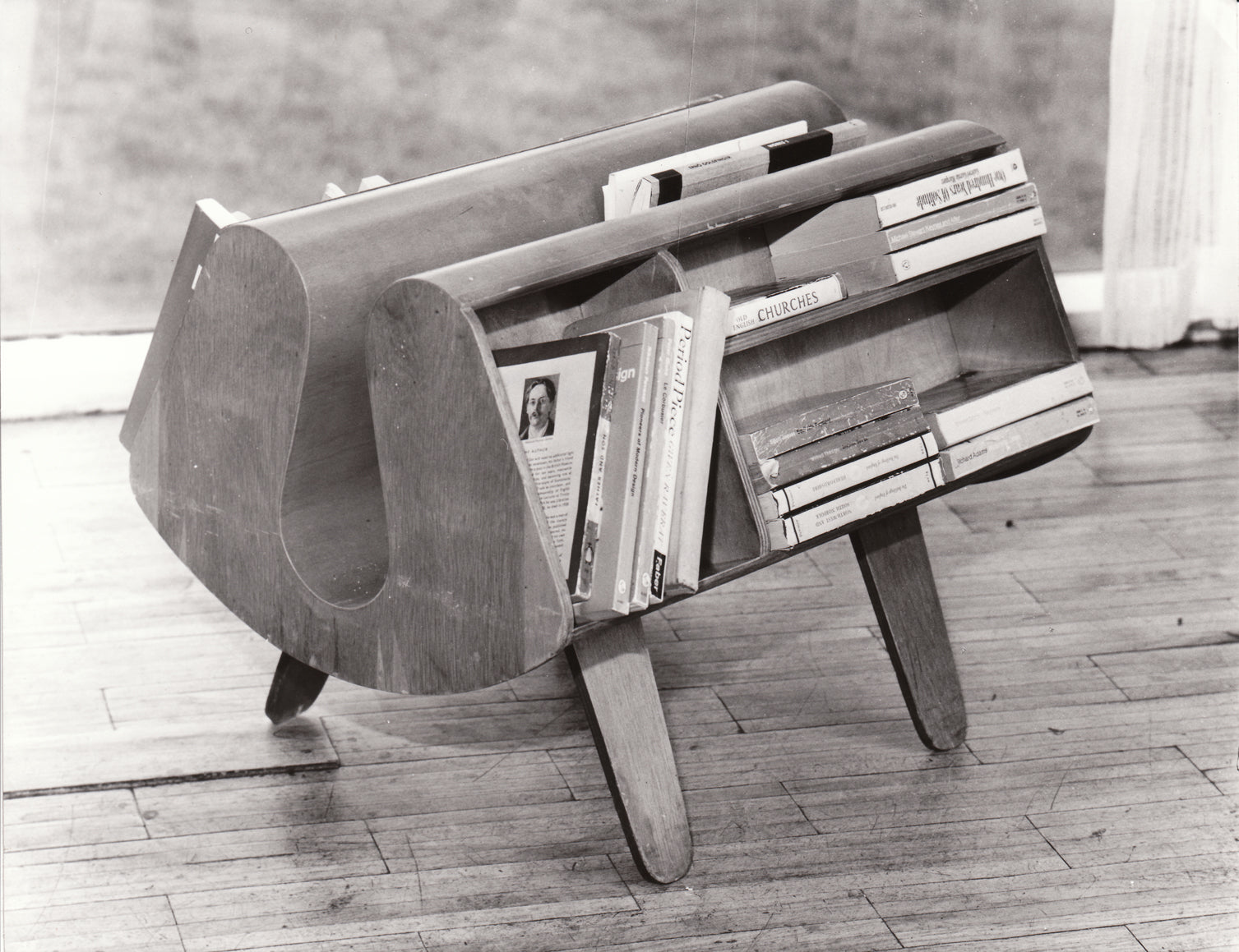 Isokon Penguin Donkey bookcase, vintage shot with paperbacks
