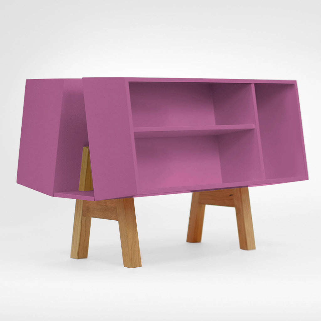 Sci-fi purple bookcase of Isokon Penuin Donkey