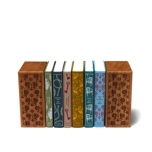 Wooden Bookends & Jane Austen Clothbound Classics