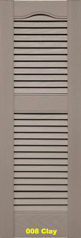 "Mid-America, Vinyl Shutters, Louvered Shutters, Cathedral Top, Lengths 39""- 48"", Widths 12"" or 14 1/2"""