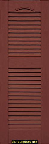 "Mid-America, Vinyl Shutters, Louvered Shutters, Cathedral Top, Lengths 75""- 80"", Widths 12"" or 14.5"""