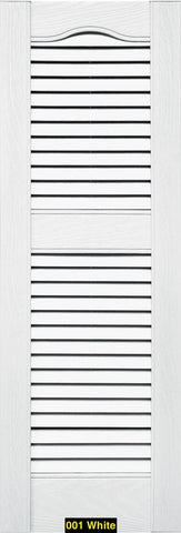 "Mid-America, Vinyl Shutters, Louvered Shutters, Cathedral Top, Lengths 25""- 36"", Widths 12"" or 14 1/2"""