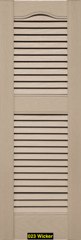 "Mid-America, Vinyl Shutters, Louvered Shutters, Cathedral Top, Lengths 39""- 48"", Widths 12"" or 14.5"""