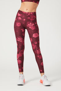 High Waist Reversible Leggings Neon Pink Flowers