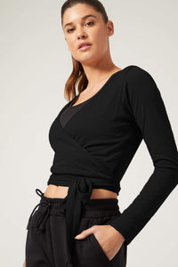 Priscilla Long Sleeve Wrap Top Black