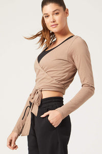 Priscilla Long Sleeve Wrap Top Camel